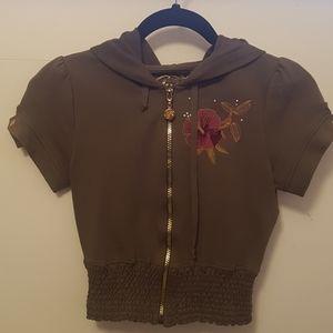 Guess khaki scrunch tshirt hoodie